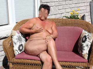 Tori getting some sun in the backyard