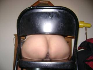 That looks like fun, I could hold onto the back of the chair and the only contact would be my cock and your holes.