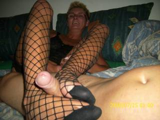 would love to cum on them stocking clad feet