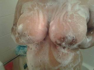 My wife big tits for you to enjoy.  Want to play with them?  She loves having her nipples sucked and a nice hot load shooting all over them.