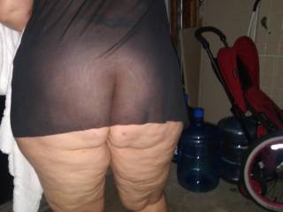 Trying to entice hubby with some see-through lingerie showing him my big ass. Wanted him to f****** outside in the garage so people might see us. Makes me horny