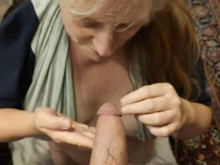 Just getting that cock ready for my mouth! Would you like these married lips around your hard manhood?