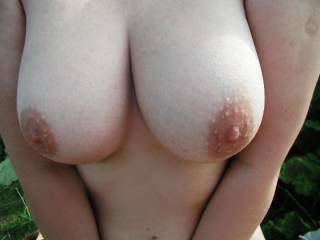 I'm torn.  Can't figure out what I would do first with your amazing tits.   Suck your nipples,  caress them, or slide my hard cock between them.   Would be a wonderful quandary.