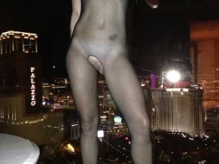 Getting ready to strip for me while hoping the others in Vegas see her in fishnet!