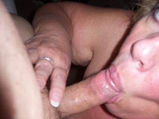 Look at the suction Mrs Daytonohfun as going on with my cock!  Fellas she gives great head and her hubby loves to watch her suck and fuck others!
