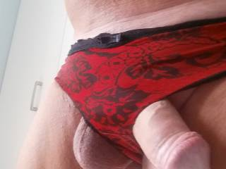 I love the way your cock hangs out of your panties