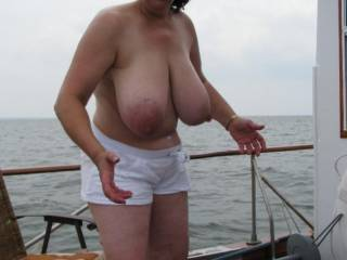 Best way to beat the heat out on the ocean...miss saggy tits...lol