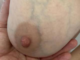 Playing with Kiki's big veiny tits in the shower. What do you think of her tits?