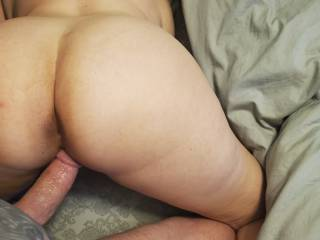 A captured moment seconds after I blew my seed deep inside my wife!  She loves creampies!