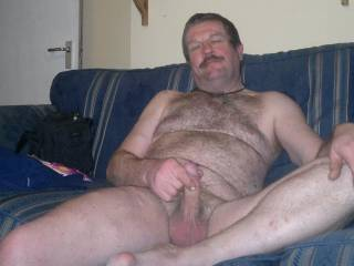 Relaxing in the lounge, cock in hand