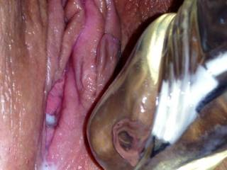 I would lick the cream off of your toy and then suck your clit into my mouth to make more. Love it.