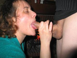 Very nice especially with her tongue providing the perfect cradle for his cock and her facial expression says that she is more than happy with the arrangement.