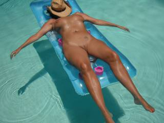 Relaxing in our swimming pool at home after a long hot session with my gorgeous Hubby.