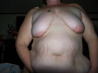 Mmm I love your big sexy belly and your sexy hanging tits.