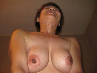 I'd love to have your amazing titties in my face as you ride my hard cock...