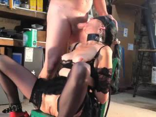 GrandGarage1 - Pt 1 of 4  With her tied up in lingerie, there\'s sucking, fucking, anal, dildos and a cum in mouth finish.  Part 1 is sucking and a little fucking...