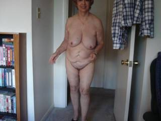 Coming from the shower, all ready to get her old pussy and ass licked and fucked.