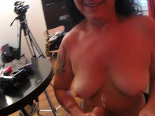 Met this tatted milf at a downtown motel. Got her fuck me then blow/jerk me off til cumming on her tits