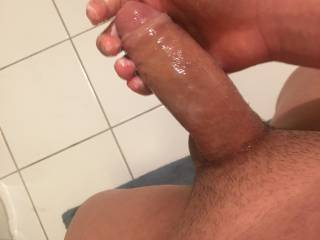 I was jerking off after my shower with my wet big thick dick