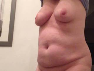 bbw wife undressing for shower reveals large tits and belly