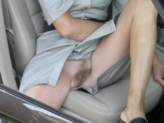 Going for a car ride commando