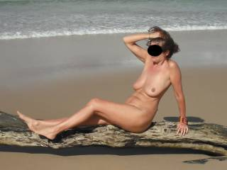 We went to a deserted beach on the boat and decided to strip off in the lovely Autumn sun.