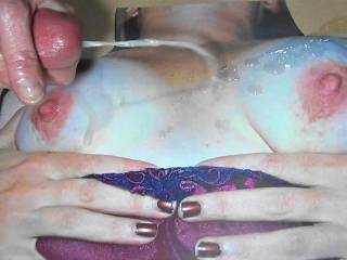 Stroking my hard cock and cumming on SweetT\'s Old real tits! Love her new one\'s but would not mind sucking her old one\'s! Thanks for the cock tribute pics!!!