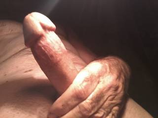 In bed , early morning , talking to friends as I stroke myself.  Wishing for someone to play with.