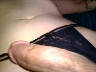 High and masturbating in black lace watching some hot porn