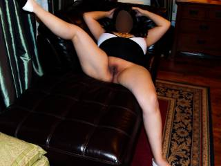 Legs spread wide and my smooth pussy on full display.