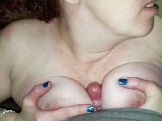 Little afternoon titty fucking with a cumshot all between my tits and up my neck hope all you enjoy leave comments