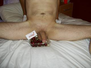 decisions decisions decisions, i do love cherries but I also love cock, maybe i'll suck your cock until you squirt in my mouth and then I'll nibble the cherries afterwards ...hmmmmm