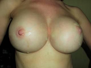 Sticky hot spunk all over my big tits