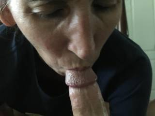 Working the head of my cock. I never get tired of her amazing skills! Would you ever grow tired of her sucking your cock?