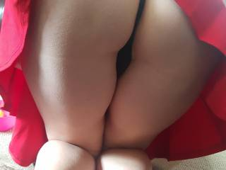Bum in red dress....ready to be used from behind