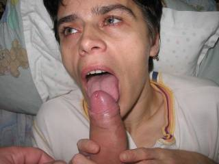 Luv the open mouth with tounge licked out ready to swallow fuck meat !