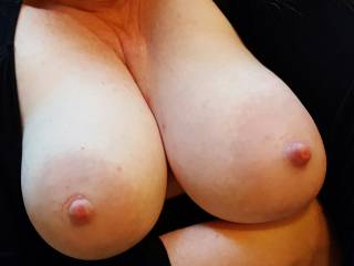 Big milk filled tits out on display