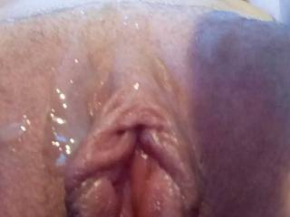 Joanne\'s pussy covered in cum