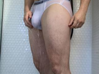 A little screenshot of me in my soaked through white briefs taken from my new video in my private uploads, take a look and let me know what you think.