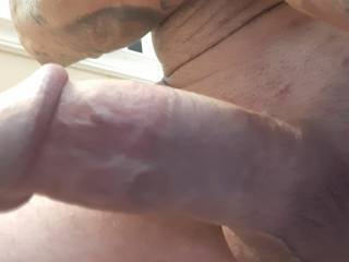 Up close on my smooth hard Cock hope u like post comments let me know
