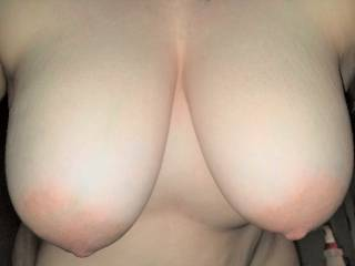Nice close up of my big soft tits - would you like to squeeze and suck on them for me?