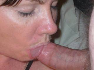 The way she has latched onto this dude's knob with her beautiful cock sucking lips, is a real turn on. She is HOT and I'm afraid I wouldn't last too long if she did this to me, but I still would love it!!