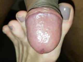 playing with my cock with her sexy feet closeup