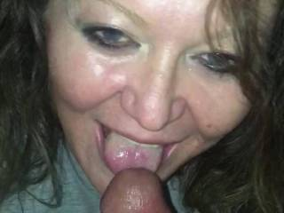 Sucking my dick. She is a new found friend.