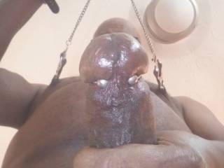 Jacking and making my nipples feel good.