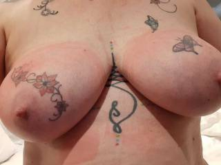 The after effects of bondage tied tits. Rope markings look good on Sally.
