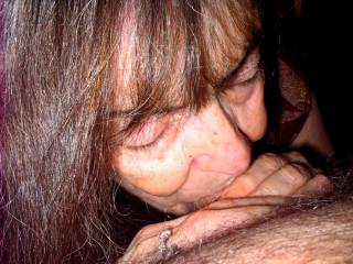 I love how nice my hair looks in this pic of me deep throating the guy\'s cock. Do you think I look pretty?