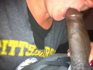 Surprised myy boyfriend with taking a few shots of his big black cock in my mouth