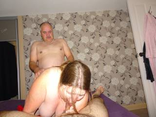 John Pounds his Mrs, Jackie as she Sucks my Cock.