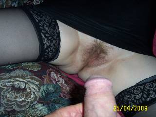 I would love that to be my cock due to slide into your pussy. Lovely and trimmed! mmmmm